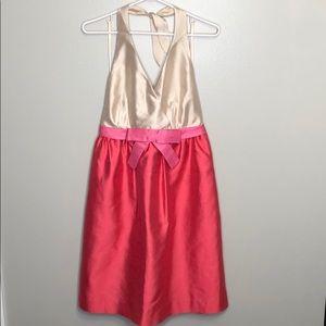 Kate Spade Spade Pink Cream Bow Puffy Midi Dress
